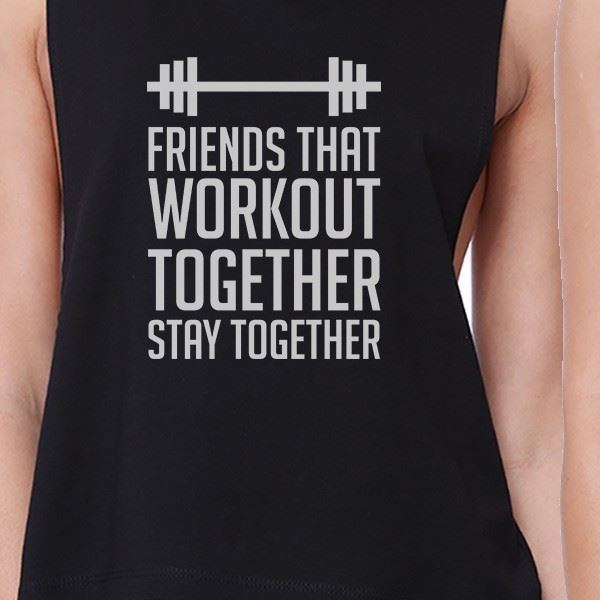 Friends That Workout Together BFF Matching Black Crop Tops