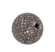 New 2.83 Ct Diamond Pave Ball Spacer 925 Silver Charm Bead Finding Jewel... - $383.35