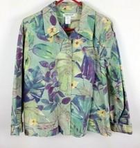 Coldwater Creek Floral Cardigan Jacket 100% Cotton Size M - $12.82