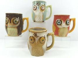 4 Gibson Home Owl Coffee Tea Mug Variety Set Ceramic Stoneware 3D Embossed Cups - $45.41