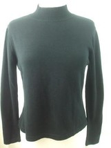 Talbots Petites Women's Sz M Black Pullover Mock Neck Sweater Knit Cotto... - $19.75