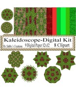 Kaleidoscope Digital Kit 3-Digtial Paper-Art Clip-Gift Tag-Jewelry-T shi... - $5.00