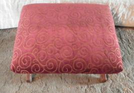 Walnut Footstool Stool with burgundy swirl print - $269.00