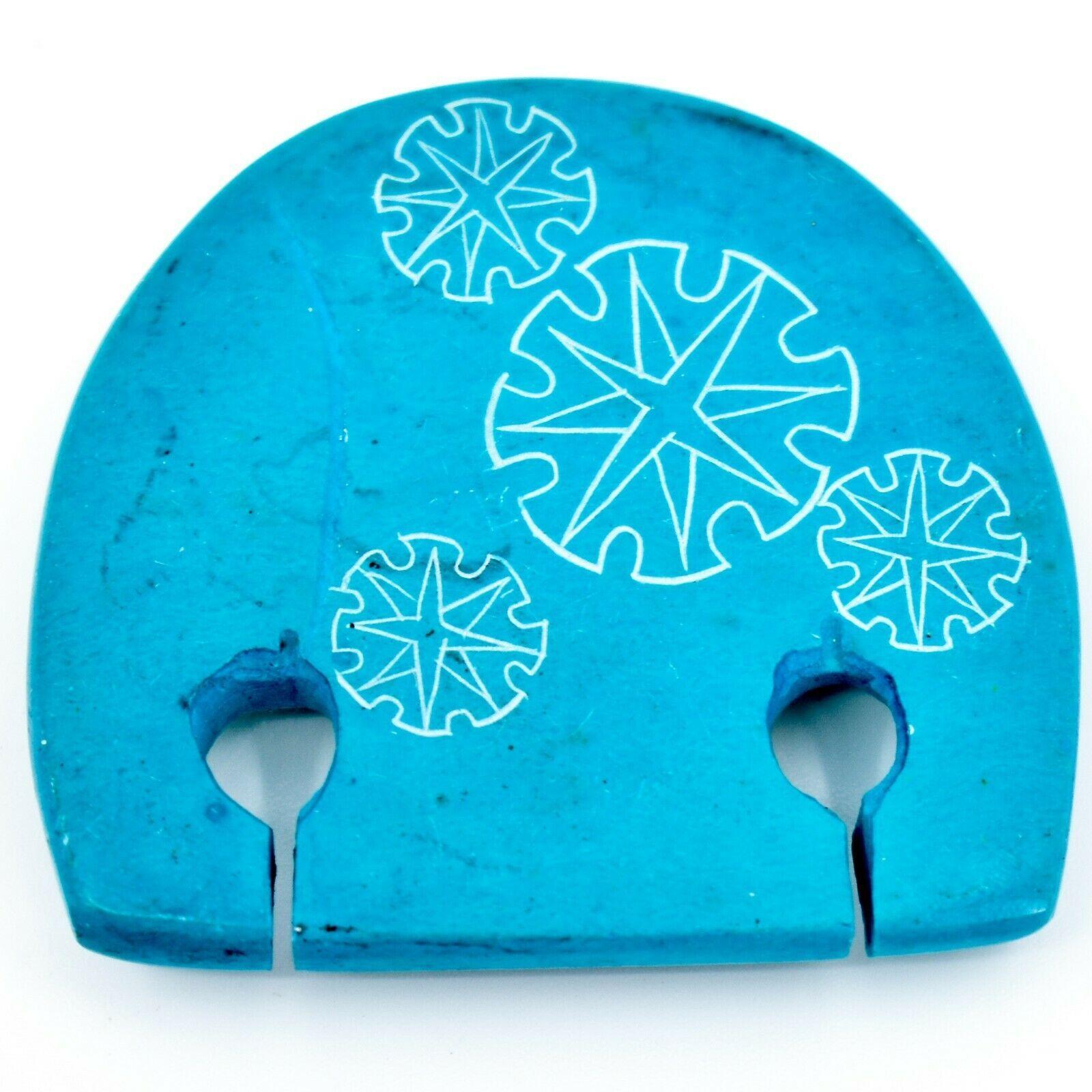 Hand Carved Soapstone Aqua Blue Simple Floral Elephant Fridge Magnet Made Kenya
