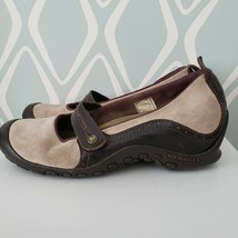 Merrell Tan & Brown Leather Suede Flat Walking Shoes Womens 9.5  - $29.69