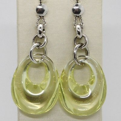 925 STERLING SILVER PENDANT EARRINGS WITH BIG CABOCHON YELLOW CRYSTAL DROP