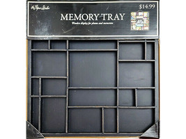 The Paper Studio Wooden Memory Tray, Black, Perfect for Photos/Mixed Media