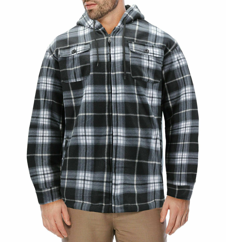 Men's Heavyweight Zip Up Soft Fleece Plaid Sherpa Lined Drawstring Hoodie Jacket