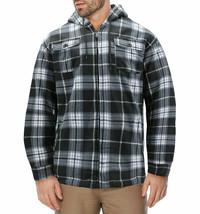 Men's Heavyweight Zip Up Soft Fleece Plaid Sherpa Lined Drawstring Hoodie Jacket image 1