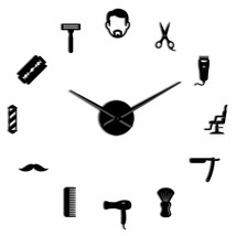 Male Barber Shop DIY Wall Clock Hair Moustache Stylist Hair Men Man Deco... - $31.35+