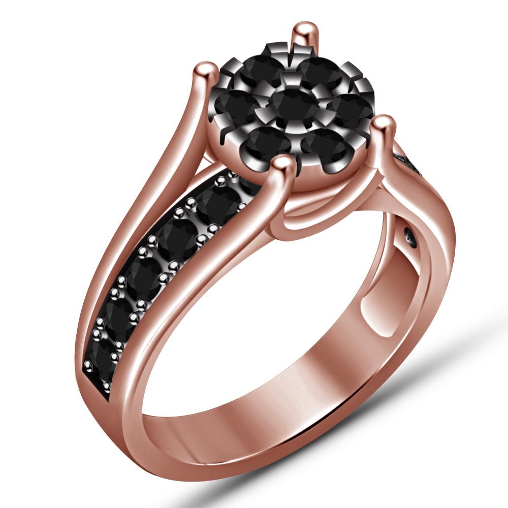 14K Rose Gold Finish 1.30Ct Round Cut Diamond Bridal Band Set & Engagement Ring