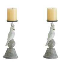 2 Slender White Cockatoo Perched on Sphere Pillar Candle Holders  - $37.45