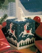 Plastic Canvas Xmas Reindeer Tissue Box Cover Lantern Santa Windsock Pattern - $6.99