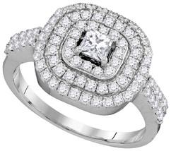 14k White Gold Princess Diamond Triple Halo Bridal Wedding Engagement Ring - $1,313.00