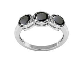 Black Spinel Called Emotion Gemstone 925 Sterling Silver Stacking Ring - $18.43