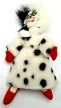 "Disney 101 Dalmatians Cruella Deville  Stuffed Plush White Black 10""  - $9.89"