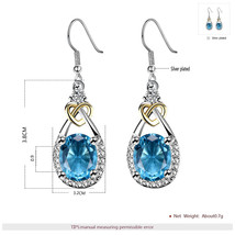 Blue Stone Vintage Bridal Earring And Necklace Sets Cubic Zirconia Weddi... - $19.55
