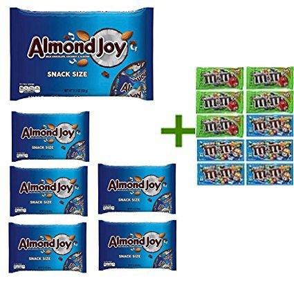 Almond Joy Snack Size Milk Chocolate Bars 11.3 OZ (Pack of 6) + 10 Pack of M&M M for sale  USA