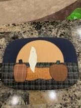 Rectangle Custom Cloth Wooden Basket Lid Halloween Fall Ghost Pumpkin - $20.00