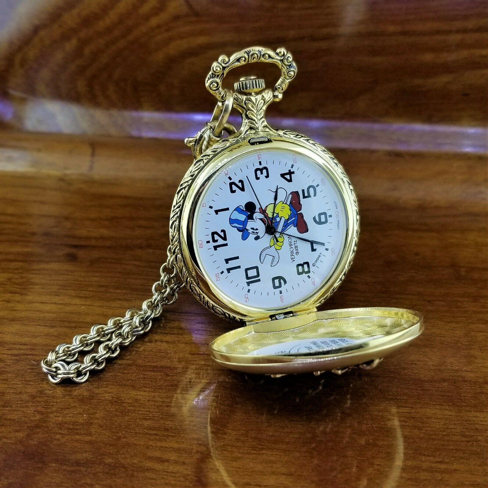 Vintage VERICHRON Disney Gold TN 3D Mickey Mouse Railroad Pocket Watch image 2