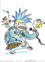 "Original Walter Moore Punk Rock Ape Drawing Marker & Colored Pencil 5 x 7"" - $29.70"