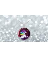 Rainbow Fantasy White Unicorn 1 inch Round Pendant 22 inch necklace chain - $24.95
