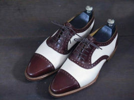 Handmade Men's Two Tone Leather Lace Up Dress/Formal Oxford Shoes image 3