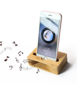 2 in 1 Bamboo Amplifier Speaker Dock For Smart Phone, Natural & Eco Frie... - $27.50