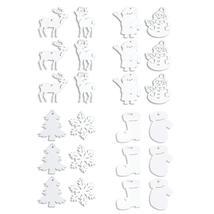 Christmas White Snowflakes Snowman Deer Tree Pattern Wooden Pendants Orn... - $2.51