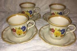Fresh Floral EC405 by Mikasa Garden Club Coffee Cups- Set of 4 w/ Saucers 1970s - $20.79