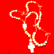 Beautiful White Wooden Handcrafted Rosary - $34.65