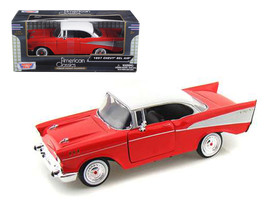 1957 Chevrolet Bel Air Red with White Top 1/24 Diecast Model Car by Motormax - $34.29