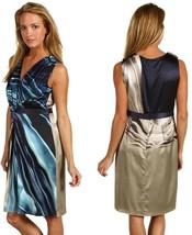 $448 Elie Tahari Quentin Oatmeal Navy Silk Jersey Odyssey Dress - $135.00