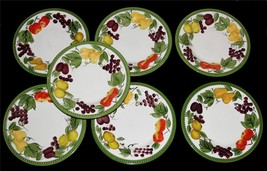 "7 DESIRAH Fruit Beaded Border LRG 11"" Dinner Plates NWOT Signature Livin... - $69.99"