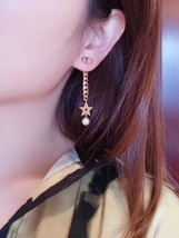 Authentic Christian Dior 2019 CC LOGO CHAIN STAR DANGLE TRIBALE EARRING  image 11