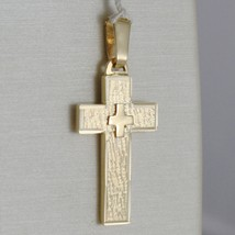 SOLID 18K YELLOW GOLD CROSS FINELY WORKED DOUBLE, SQUARED, SMOOTH, MADE IN ITALY image 1