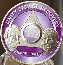 3 Year AA Founders Chip Purple Alcoholics Anonymous Sobriety Medallion  - $20.39