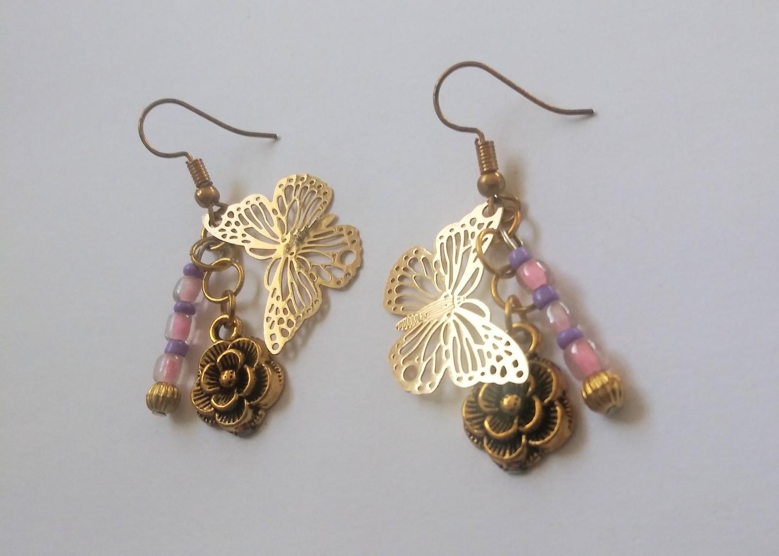Butterfly flower pink purple bead dangle earrings