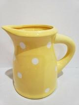 """Easter Terramoto Ceramic Yellow White Polka Dot Pitcher 7"""" - $32.99"""