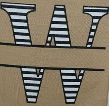 Kate Winston Brand Brown Burlap Monogram Black White W Garden Flag image 3