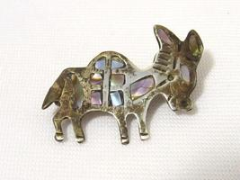 Vintage Mexico Taxco Sterling Silver Modernist Abalone Donkey Brooch Pin  - $15.00