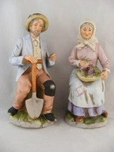 2 Homco Figurines Handpainted Bisque Sitting Farming Couple - $29.95