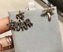 Authentic Christian Dior 2019 J'ADIOR AGED GOLD CRYSTAL EARRINGS Star Bee Wasp image 3