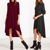 Casual Women Oversized High Neck Dip Hem Casual Long Sleeve Shirt Dress - $30.60