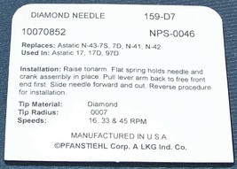 159-D7 RECORD PLAYER DIAMOND NEEDLE STYLUS for Astatic 17 17D Astatic N41 N43 image 2