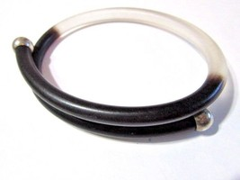 """BLACK AND CLEAR LUCITE OVAL SHAPE BYPASS BRACELET SILVER """"BEAD"""" ENDS VIN... - $23.00"""
