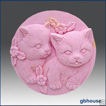 Silicone Soap Mold – Pair of Kittens - Round - $25.00