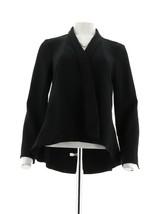 H Halston Long Slv Open Front Jacket Seam Black 14 NEW A303200 - $38.59
