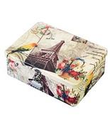 European Style Tin Box Tinplate Gift Box With Lock Eiffel Tower - $25.69