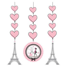 Party in Paris Birthday 3 Hanging Cut Outs Swirls Eiffel Tower - $5.79